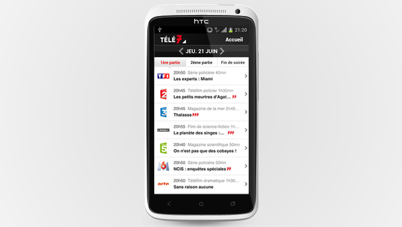 Application gratuite Télé 7 jours sur Google Play