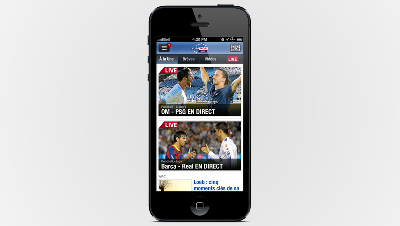 Application gratuite Eurosport sur iTunes