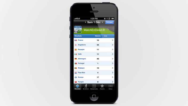 Application gratuite Résultats Foot en Direct sur iTunes